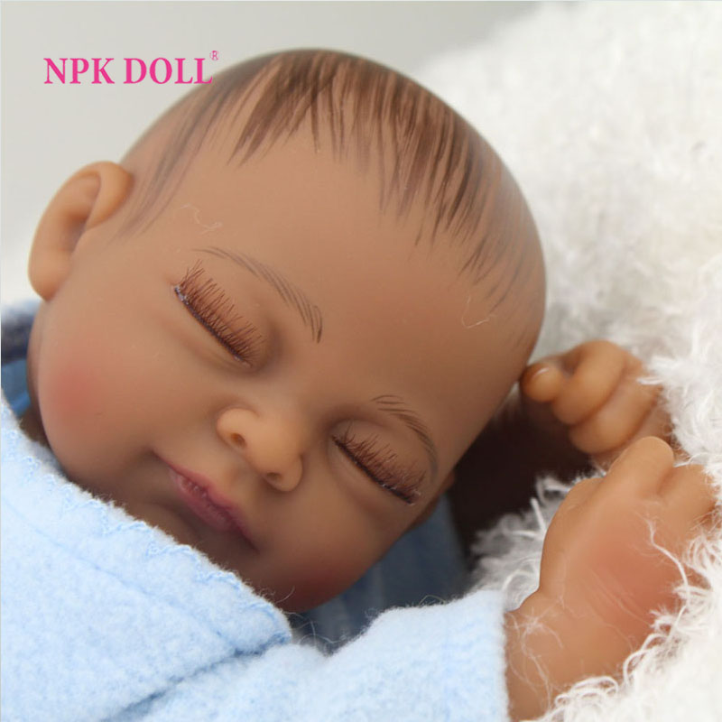 Aliexpress Com African American Baby Doll Black Boy Realistic Life Like Reborn Newborn Babies Bonecas Closed Eyes From Reliable Robe Suppliers On