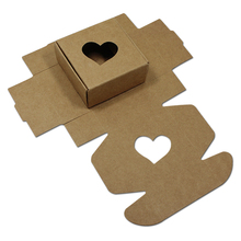 7.5*7.5*4cm New Style 20pcs Party Brown Kraft Paper Box DIY Soap/ Gift Craft Packing Box With Love Window/ Vintage Small Gift(China)
