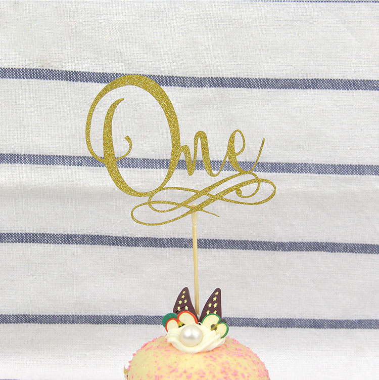 Cake Toppers One Glitter Letter Love Cake Topper Happy Birthday Cupake Flags Wedding Valentine DIY Decor Supplies Kids Party