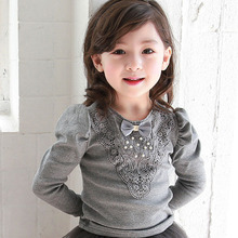 Spring and Autumn girls under the shirt shirt cotton candy color long-sleeved children's bottoming shirt.