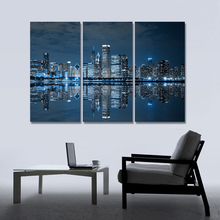 Sale Blue Cool Buildings In Dark Color In Chicago Modular Wall Painting Vintage Paintings On Canvas HD Wall Pictures For Bedroom