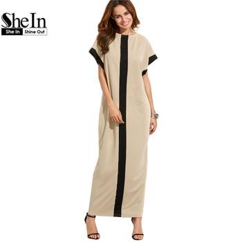 SheIn Women Loose Long Dresses Summer Dresses Casual Color Block Pocket Round Neck Short Sleeve Shift Maxi Dress