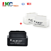 Wholesale 1pcs White ELM 327 Bluetooth + Black Super Mini ELM327 V2.1 Bluetooth OBD2 Car Diagnostic Interface(China)