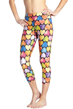 Women Colorful Hearts Print Fitness Quick Dry Exercise Leggings High Waist Mid Calf Energy Pants Trousers Ropa Mujer(China)