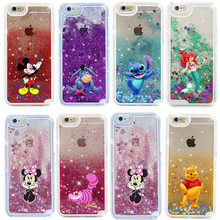 New Bling 3D Animal Mickey Stitch Mermaid Skin Cover Dynamic Liquid Glitter Quicksand Hard Case For iPhone 5 6 6/6s/7 Plus MN251