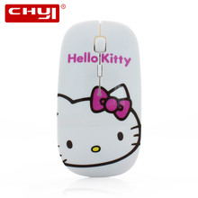 Wireless Mouse Pink Hello kitty Mouse Mause 2.4Ghz Ultra Thin Slim Wireless Optical Mouse for Girl Child Gift Computer Mice(China)