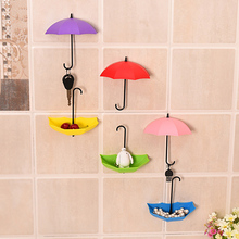 3 Pcs/lot Adhesive Stick Plastic Household Kitchen Bathroom Mirror Door Wall Hooks for Keys Spectacles Hangers Umbrella Pattern