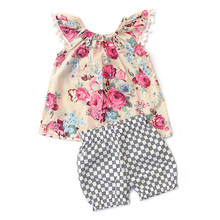 2017 Baby Boutique Clothing Higher Quanlity Cheaper Price Toddler Girl Clothes Outfits Floral Dress  Plaid Shorts Baby