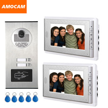 "2 Units Apartment intercom system Video Door Phone Door Intercom Aluminum Alloy Camera 7"" Monitor video Doorbell 5-RFID Card"