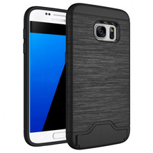 for Samsung Galaxy S7 Case Card Brush PC + TPU Hybrid Back Armor Cover With Cryptic Card Storage Slot Cell Phone Case(China)