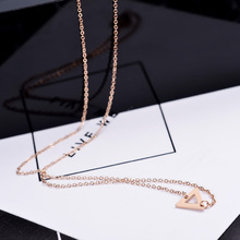 YUN RUO Simple Fashion Triangle Pendant Necklace for Woman 316L Stainless Steel Jewelry Gift Rose Gold Never Fade Drop Shipping(China)