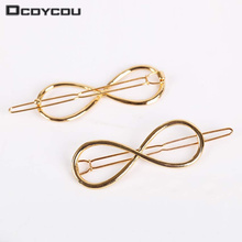 5PCS/lot Women Infinity Symbol Golden Hair Clips Digital 8 Barrette Side Hair Accessories Hairpin Perfect Gift for Lady