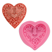 Valentines Bird & Rose Love Heart Silicone Fondant Soap 3D Cake Mold Cupcake Candy Chocolate Decoration Baking Tool FQ2914(China)