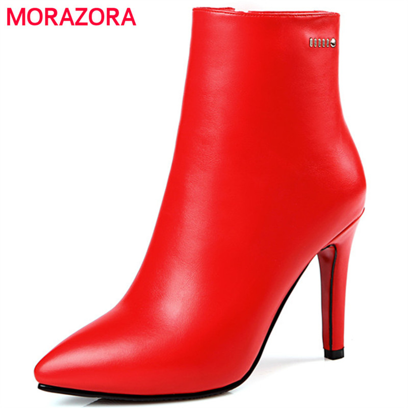 MORAZORA 2017 Spring autumn ankle boots for women zipper PU pointed toe thin heels shoes boots fashion sexy lady big size 34-43<br>