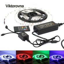 DC12V led lamp 1/2/3/4/5M 5050 Waterproof LED Strip Light RGB 3M diode Tape light + IR Music Remote Controller+1/5A power supply