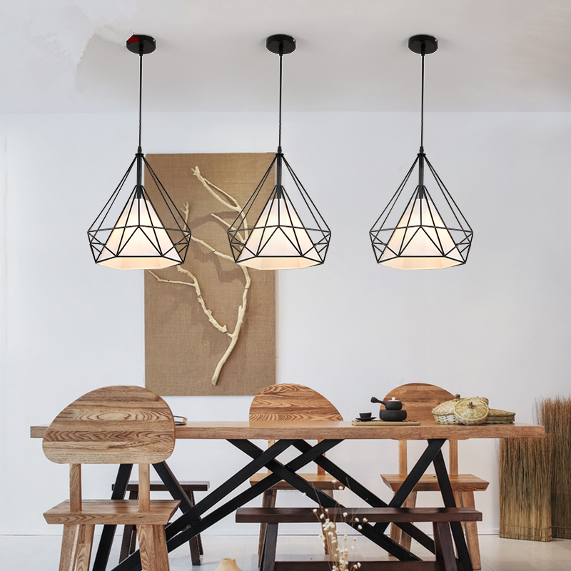 E27 Simple modern wrought iron nordic study creative personality single head restaurant chandeliers AC110-240V<br>