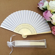 Free shipping Wholesale 50pcs/lot White Elegant Folding Silk Hand Fan with Organza Gift bag Wedding Gift & Party Favors