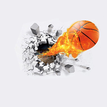 Waterproof 3D Basketball Rush out Wall Art Decal Kids Room Decor Mural Sticker Store 207(China)