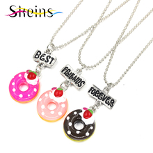 Skeins BFF Jewelry 3pcs Set Best Friends Charm Pendants Necklace Japanese Cartoon Love Sisters Series Doughnu Kids Necklace Set(China)