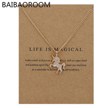Fashion New Gold-color Life Is Magical Unicorn Horse Alloy Clavicle Chain Pendant Necklace Jewelry Gift