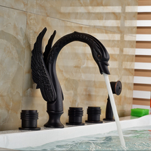 European Style Best Price Swan Shaped Bathroom Mixer Faucet Deck Mounted Oil Rubbed Bronze(China)