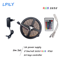 LPILY 5M SMD 3528 2835 RGB LED strip light strip 54 leds/M Non waterproof indoor use only+24 keys controller IP20 DC12V adapter