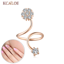 KCALOE Nail Ring Crystal Rhinestone Round Knuckle Rings For Women Silver Plated And Rose Gold Punk Rock Finger Nail Open Ring