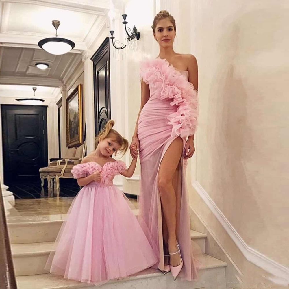 Sweetly One Shoulder Pink Prom Dress For Mother And Daughter Evening Party Wear Gowns 2019 New Collection(China)