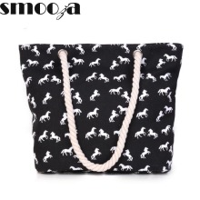 SMOOZA New Women Handbag Canvas bag Fashion Female Shoulder Beach Bag horse printing Casual Tote Shopping Bags Bolsa Sac A Main