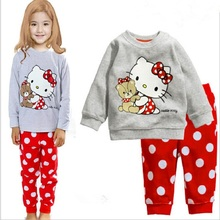 2017 Girls Pajamas Sets Children Clothing Cartoon Hello Kitty Baby Long Sleeve Tops + Dots Pants Cotton Girls Suit Kids Pijamas