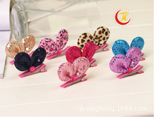 korean boutique kawaii cute leopard children baby decorations for hair clips glitter sequin bows with clips hairpins accessories