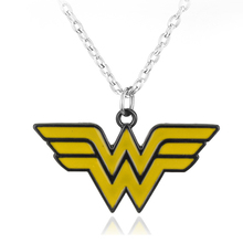 Fashion Movie Superhero Series Wonder Woman Torque Alloy The Winner Acronym W Logo Necklace pendant Gifts for Lovers Accessories