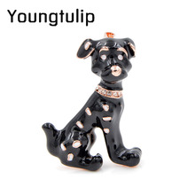 Young Tulip Spotted Dog Brooches For Women Enamel Animal Brooch Pin Fashion Jewelry White Color Winter Coat Accessories Gift(China)