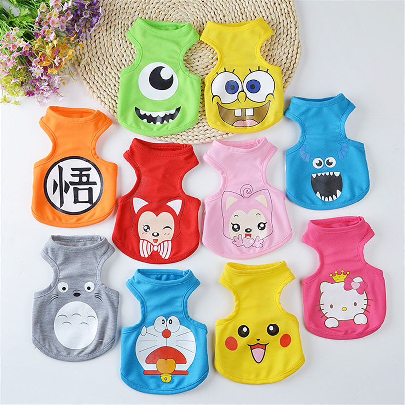 10 Color Summer Cute Totoro Dog Vest Cartoon Small Animals Dog Vest Teddy Dog Puppy Clothes Pet Shirt Roupa Para Garment PY962(China)