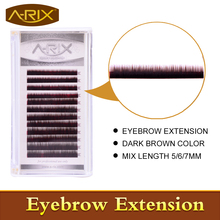 New Arrival Eyebrow Extension 1pcs/lot Faux Mink Hair Professional Makeup Tools Mix Length 5/6/7mm 0.10/0.15 Dark Brown Color(China)