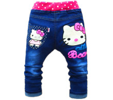 Free shipping korean children's clothing hello kitty girls jeans for kids 2-5years Children Pants Girls Jeans Pants(China)