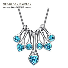 Neoglory MADE WITH SWAROVSKI ELEMENTS Crystal & Rhinestone Charm Long Necklace Geometric Design With Heart Style Elegant Gift