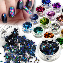 2017 NEW 1 Bottle Nail Art Shining Rhombus Tips 16 Color Thin Paillette Glitter 3D Laser Sparkly Decoration Glitter BELS01-16