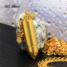 "Mens Cool Jewellery Stainless Steel Gold Solid  Bullet Charm Pendant  and 24"" Cuban Chain Hip hop Keepsake Memorial Necklace"