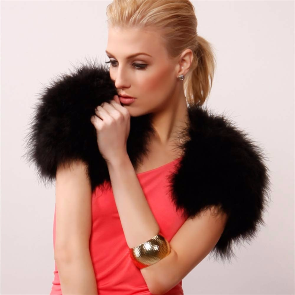 2 AO780-1 -black-feather-fur-bolero-