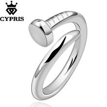 50% OFF on 2018 Fashion Brand silver finger ring Nail Ring Women Men Open Ring lover gift hot Wholesale Price CYPRIS cheap lot(China)