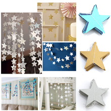 4M Paper Garland Star Shape String Banners Colorful Bunting Hanging Paper Birthday Wedding Party Home Hanging Decoration(China)