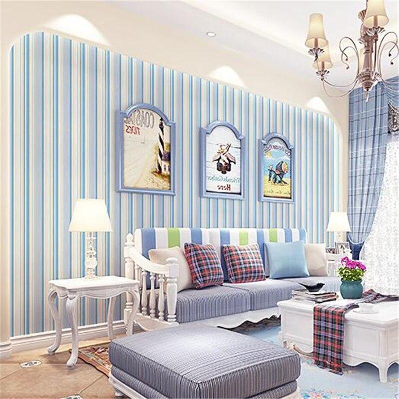 beibehang Modern Mediterranean blue vertical striped wallpaper children bedroom living room background wallpaper papel de parede<br>