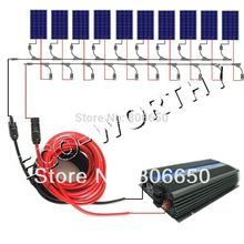 1000W on grid solar system kit: 10*100W WATT 12V PV poly Solar cell Panel For Home(China)