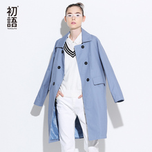 Toyouth Trench Coat 2017 Spring Women Turn Down Collar Coats Loose Straight Double-Breasted Overcoats(China)