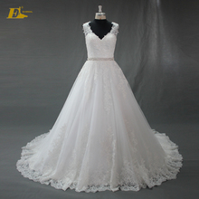 ED Bridal A line Wedding Dress 2017 V Neckline Sleeveless Heavy Appliques Bling Sash Vestido De Noiva De Renda China