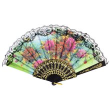 SZS Hot Lady flower Print Chinese Japanese Foldable Hand Fan Black