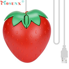 Adroit 2016 New Fashion Cute Red Strawberry Optical USB LED Wired Game Mice Mouse For PC Laptop Computer May16 drop shipping
