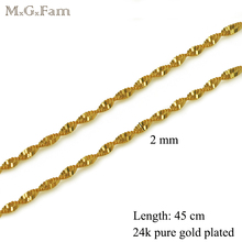 MGFam ( 45cm*2 mm) 24 k Pure Gold Color Small Water Wave Chains Women for Matching Pendants