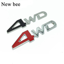 Newbee 3D Chrome Metal Sticker 4WD Emblem 4X4 Badge Decal Car Styling For Honda CRV Accord Civic Suzuki Grand Vitara Swift SX4